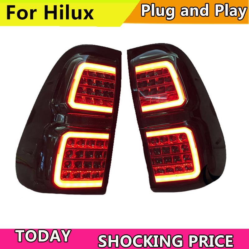 Car led Rear lamp For 2015-2018 year Hilux Revo LED Taillight 2017 Hilux Taillight New Vigo LED Taillight Black цена