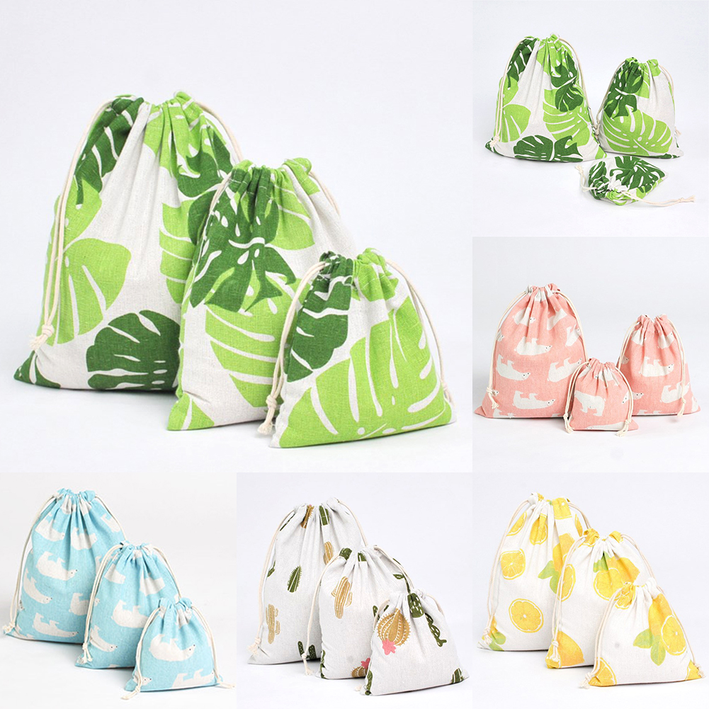 Casual Women Cotton Drawstring Shopping Bag Eco Reusable Folding Grocery Cloth Underwear Pouch Case Travel Home Storage