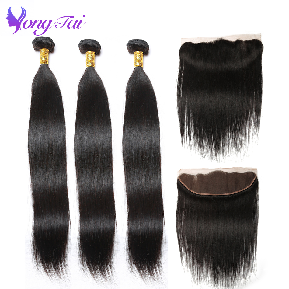 Yuyongtai Lace Frontal Closure With Bundles Non Remy Indian Straight Hair 3 Bundles & Frontal Human Hair Bundles With Closure