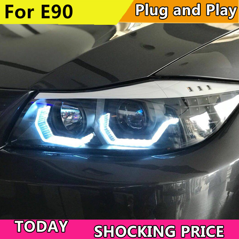Car Styling Car <font><b>Headlights</b></font> For <font><b>BMW</b></font> <font><b>E90</b></font> headlamp 318i 320i 325i <font><b>Headlight</b></font> <font><b>LED</b></font> Angel eyes Front light for 318 320 325 Bi Xenon Len image
