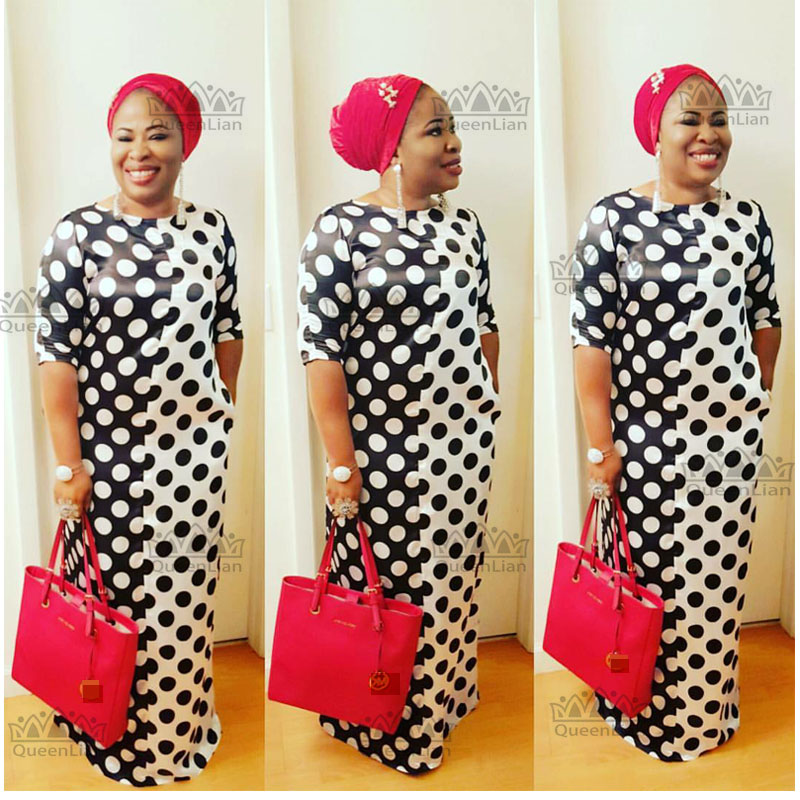 2017 New African Dashiki Fashion Black And White Circle  Pattern Super Elastic Party Plus Size Loose Dress For Lady (YD#)