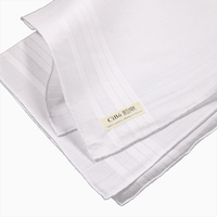 M001: classic men's 100% cotton satin banded handkerchiefs 120 piece/pack with hand rolled edge size 17x 17