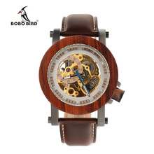 BOBO PÁJARO Mens Transparen Semi-Automático Mecánico Reloj de Pulsera Para Hombre Relojes de Primeras Marcas de Lujo de Regalo De Madera Caja De Madera