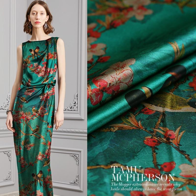 Pie jouer rouge fleurs numérique peint soie satin stretch gambiered canton gaze tissu pour la robe tissu au mètre lumineux diy
