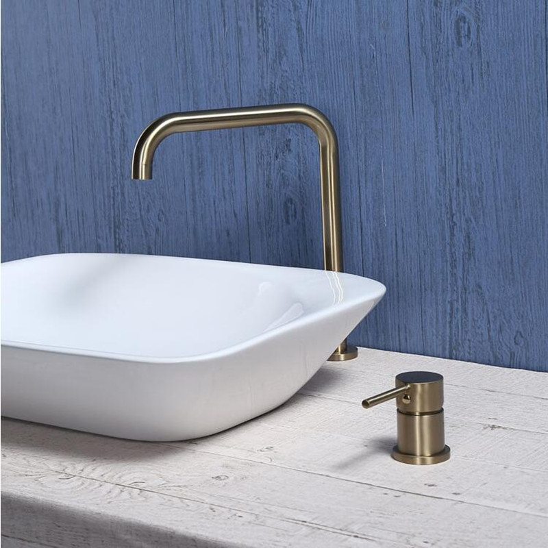 Basin faucet Bathroom super long pipe two holes Brushed Gold bathroom faucet sink tap 360 rotating widespread Black basin TapBasin faucet Bathroom super long pipe two holes Brushed Gold bathroom faucet sink tap 360 rotating widespread Black basin Tap