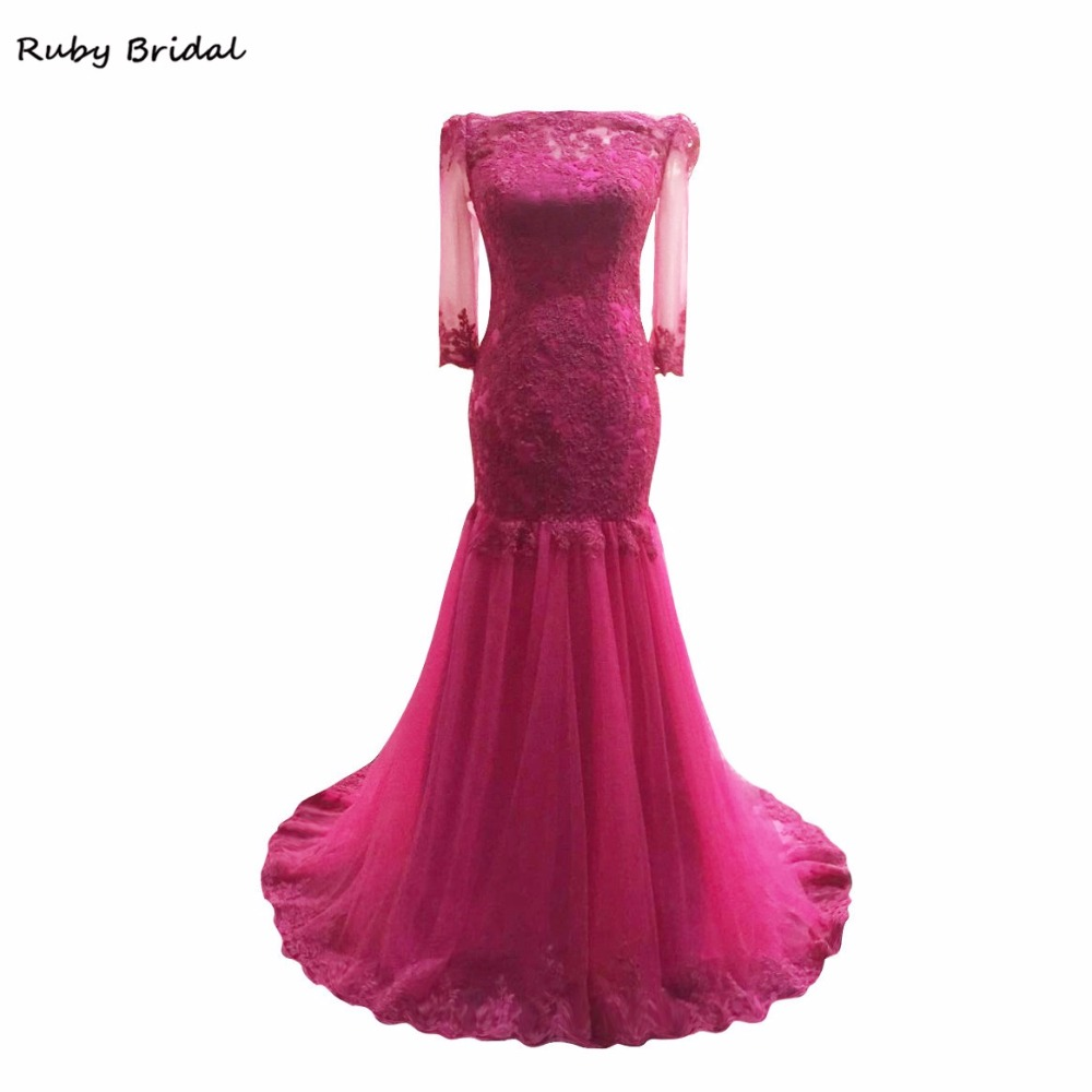 Ruby Bridal Vestido De Festa Long Evening Dresses Rose Red Tulle Appliques  Luxury Boat Neck Mermaid 2f5c19f6f6da