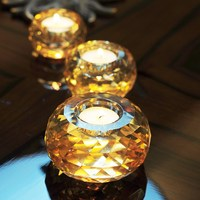 2 Color European Crystal Glass Candle Holder Candlestick Bar Cafe Wedding Home Decoration Candelabra Romantic Tealight