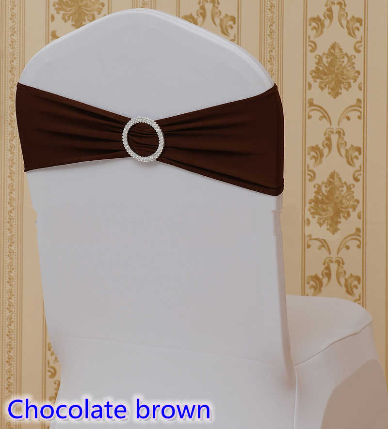 Chocolate brown colour on sale chair sash with Round buckles for chair covers spandex band lycra sash bow tie wedding decoration