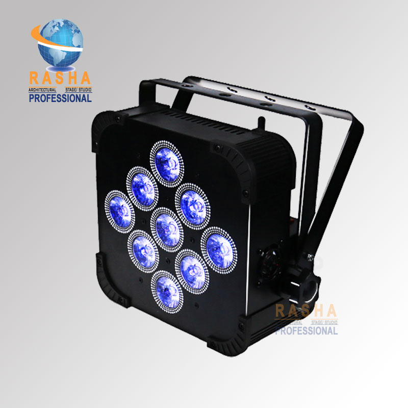 Factory Price Rasha 9*10W RGBW/RGBA 4in1 Battery Powered Wireless LED Flat Par light Slim Par Can Lihium Battery 13200MAH Stage chauvet dj slim par 64 rgba