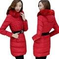 Casacos de inverno e Casacos para As Mulheres grande M-5XL Plus Size Fêmea Magro Para Baixo Casaco Parka Com Capuz De Pele Vermelho ow0245