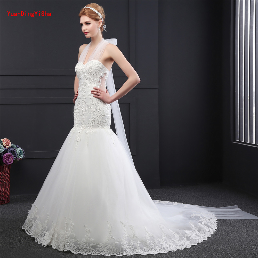 Halter Beaded Mermaid Wedding Dress 2017 Real Pictures Lace Wedding ...