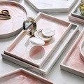 Керамическая акриловая тарелка для пиццы  серый розовый персонализированный мраморный дизайн фарфоровый прикроватный держатель для хране...