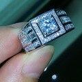 Знаменитости дизайн Sz 7-13 Роскошные Ювелирные Изделия Мужчины Топаз Моделируется алмазов 10KT Белое Золото Заполненные Обручальное Кольцо бесплатная доставка доставка