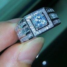 celebrity diseo sz joyera de los hombres de lujo diamante simulado topacio kt oro blanco llen el anillo de boda anillo de la venda libre gratis