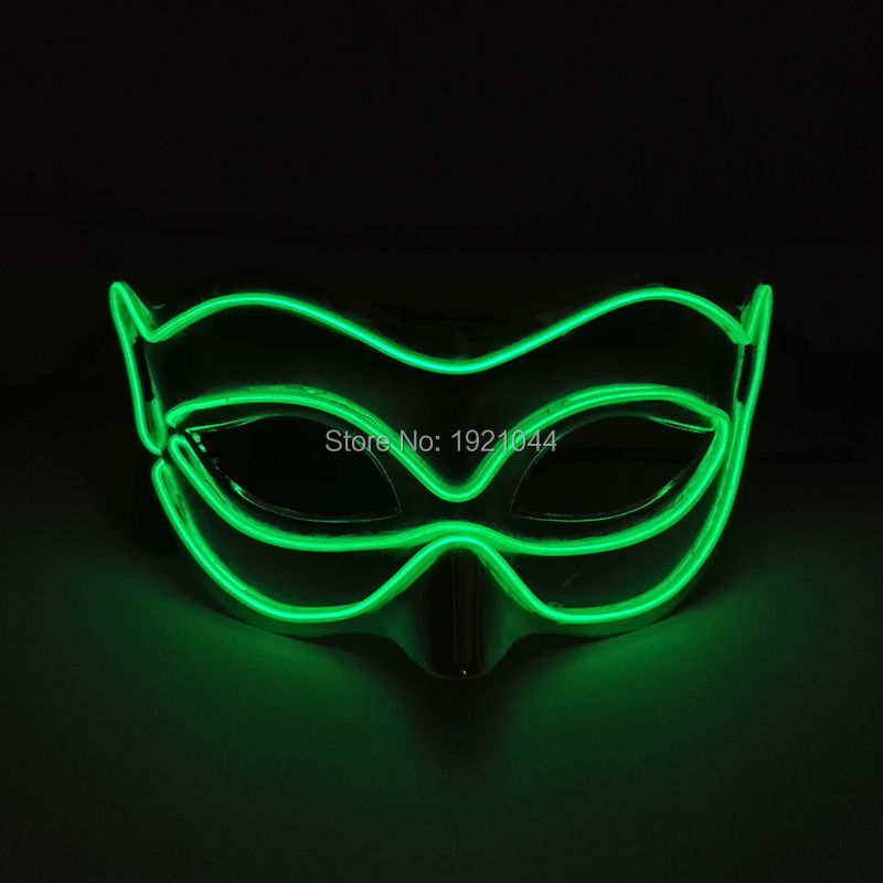 Hot Flash Mask Lighting Color Green EL Wire Fox Mask Night Club Dance DJ Mask with DC-3V Steady on Driver