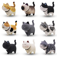 New Very cute product 9 pcs/ set cat toy figures PVC cat model Utopian creation Cat bell Family decorations Garfield Kitten toys
