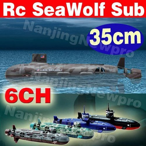 New larger size 35cm 6CH R/C U.S.S. SeaWolf Submarine with lights Electric Remote Control RTR 6channel Nuclear Sub (USS-22)