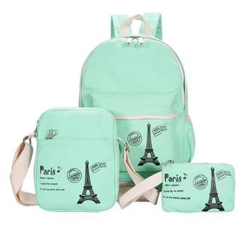3pcs/set Canvas Printing Backpack Casual Travel Pack Women School Bags for Teenage Girls Rucksack Vintage
