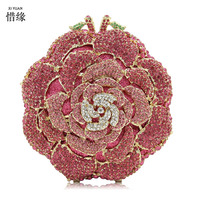 XIYUAN BRAND Women Gold Day Clutches Flower Gold Minaudiere Evening Bags Wedding Purse Luxury Crystal Clutches