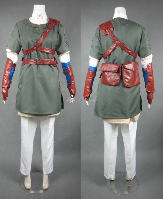 the legend of zelda link dark green cosplay costume halloween costumes mens costume with free shipping