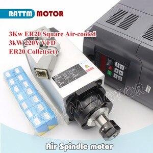 Image 2 - 【DE Free VAT】 Square 3KW ER20 Air Cooled Spindle Motor 4 Bearings & 3kw VFD Inverter Drive 220V & 1 set ER20 Collet CNC Router