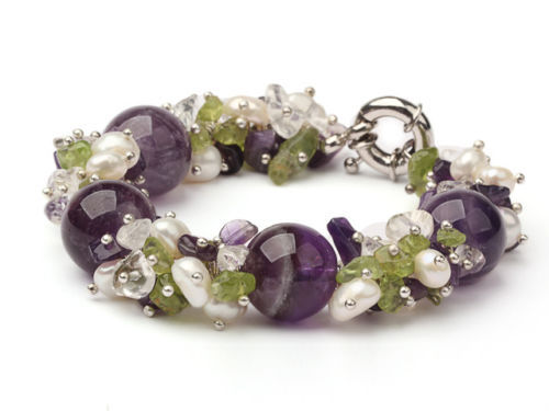 LJHMY  Chunky Natural Amethyst Gemstone Crystal, Peridot And Real FreshWater Pearl Bracelet Women Boho