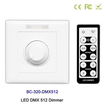 BC-320-DMX512 style de bouton mural avec LED à distance IR DMX 512 gradateur manuel interrupteur LED gradateur pour LED DC12V-24V de lumière de bande