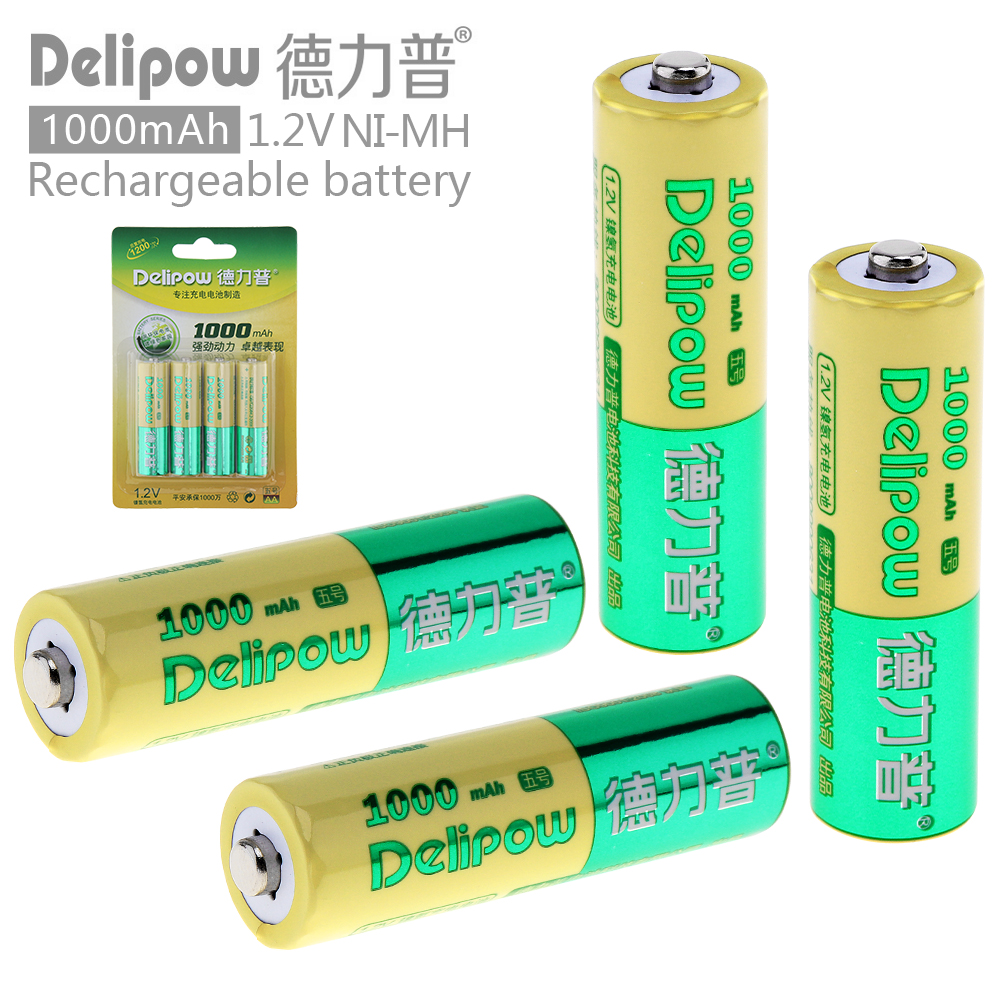 Delipow 4pcs AA 1.2V 1000mAh High Capacity Ni-Mh LSD Rechargeable Battery with Safety Relief Valve for Toys/ Cameras / Headlamps
