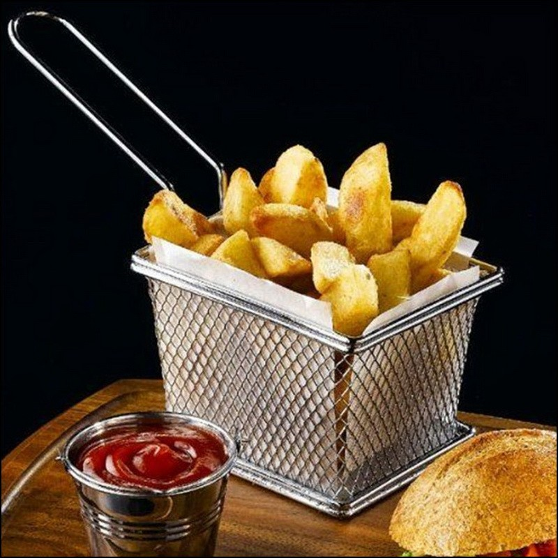 Chips Mini Fry Baskets Stainless Steel Fryer Basket Strainer Serving Food Presentation French Fries Basket