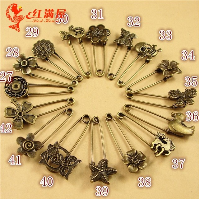 ab769f44c 10pcs 50MM Long Antique bronze flower safety pin Brooch Hijab vintage metal  animal lapel pin for