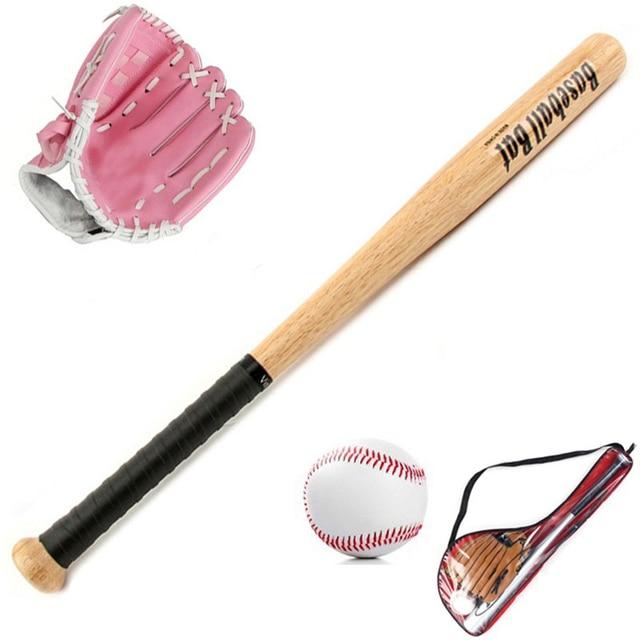Us 1273 14 Offkids Gift Professional 24 Wood Baseball Bat Softball Ball Baseball Gloves Exercise Training Baseball Set With Bag 3 Colors In