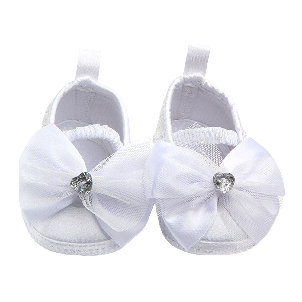 Shoes Baby-Girl Flower-Bow Toddler Newborn Infant Little Fabric White