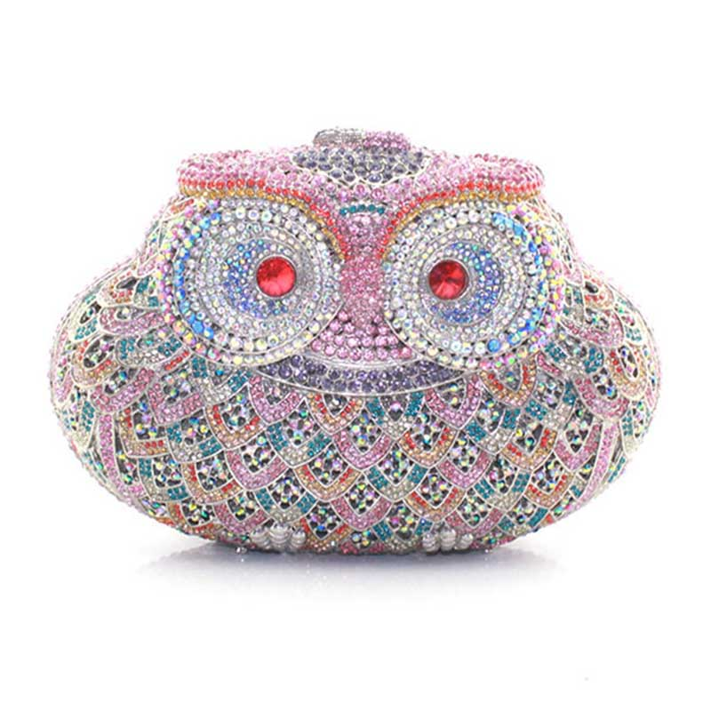 New Owl Evening Bag Small Animal Clutch Handbags for Women Wedding Prom Dinner Party Luxury Owls Crystal Clutches Purse winmax popular luxury evening bag sparkly crystal women party bag colorful butterfly pattern ladies dinner bag prom clutch purse