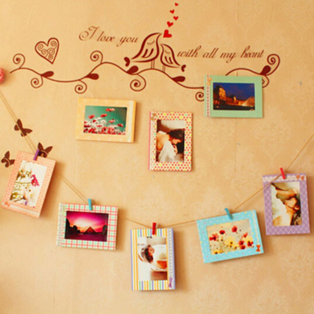 Aliexpress : Buy 6 Inch Rectangle Paper Photo Frame Wall Picture Album  Diy Hanging Rope Frame +wood Clips Rope Home Decer 8 Pcs From Reliable  Paper