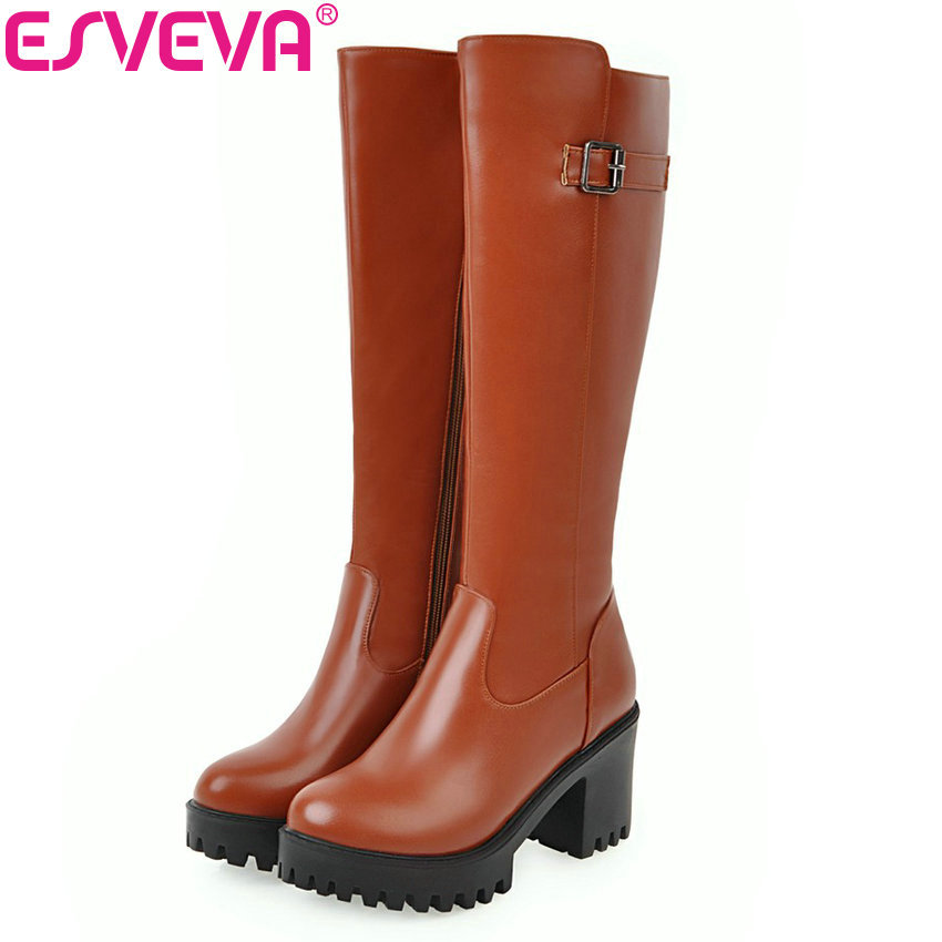 ESVEVA 2018 New Women Boots Square High Heel Riding Boots Round Toe Platform Knee High Boots Zipper Warm Winter Shoes Size 34-43