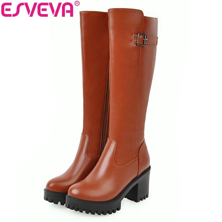 43 punta invernali donne tonda alta nuove alto bianco Esveva 34 cerniera tacco equitazione ginocchio nero marrone scarpe 2018 taglia stivali piattaforma calde piazza zpFqwZHx