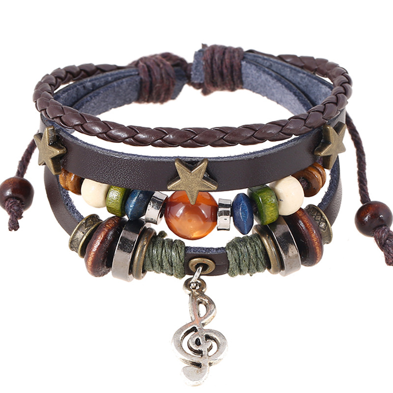 2ea2c93f10d6 pulseira masculina punk rock layers leather bracelet wooden beads wristband  for women alloy charms star music note bracelet -in Chain   Link Bracelets  from ...