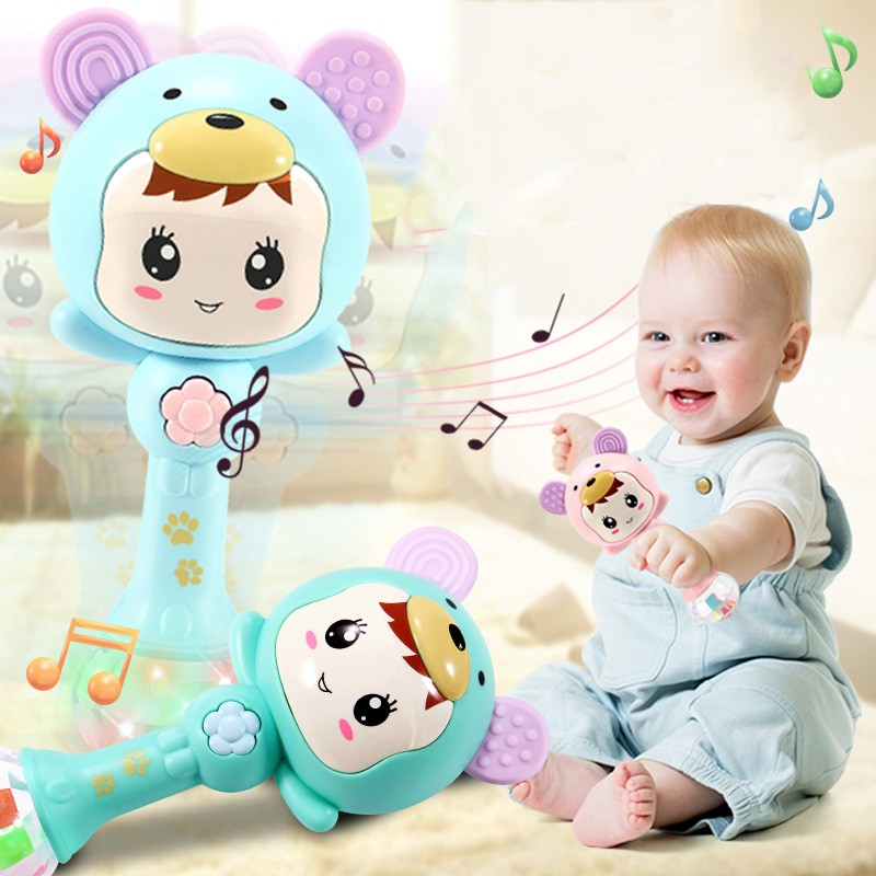 2019 Baby Shaker Sand Hammer Toy Dynamic Rhythm Stick Baby Rattles Kids Musical Party Favor Musical Instrument Toys