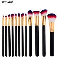 Black Rose Golden Makeup Brush 12Pcs Cosmetics Foundation Blending Blush Make Up Tool Red Hair Powder