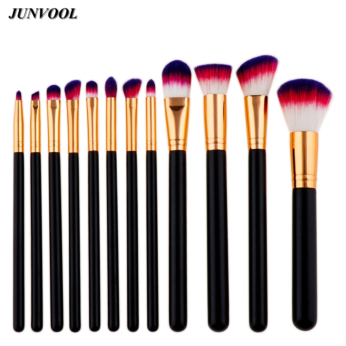 Black Rose Golden Makeup Brush 12Pcs Cosmetics Foundation Blending Blush Make Up Tool Red Hair Powder Eyeshadow Cosmetic Brushes acevivi professional oval shape makeup rose golden color brushes cosmetic make up brush tool set foundation powder brush kits