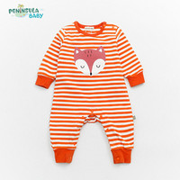 Baby Rompers Stripe Cartoon Fox Long Sleeve Jumpsuits Newborn Baby Boys Girls Clothes Toddler Infant Jumpsuits