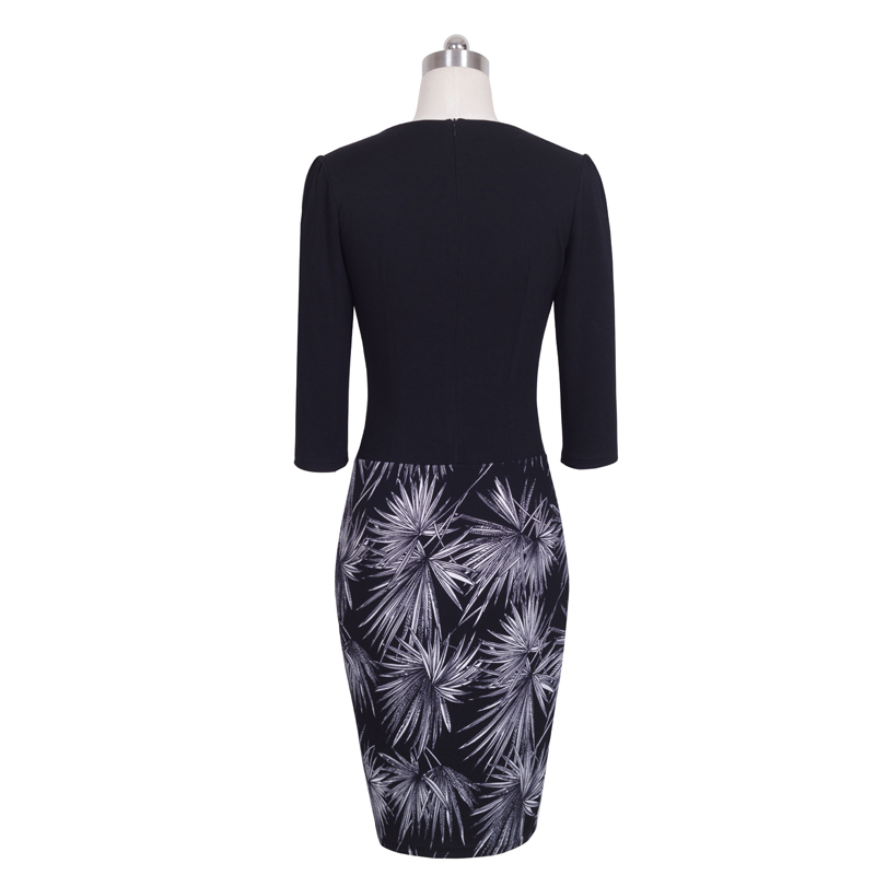 Nice-forever One-piece Faux Jacket Brief Elegant Patterns Work dress Office Bodycon Female 3/4 Or Full Sleeve Sheath Dress b237 2