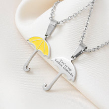 "How I Met Your Mother Yellow Umbrella Pendant""You're my Yellow Umbrella"" True Love Necklace Geekery Jewelry for Mother 2 Sides"