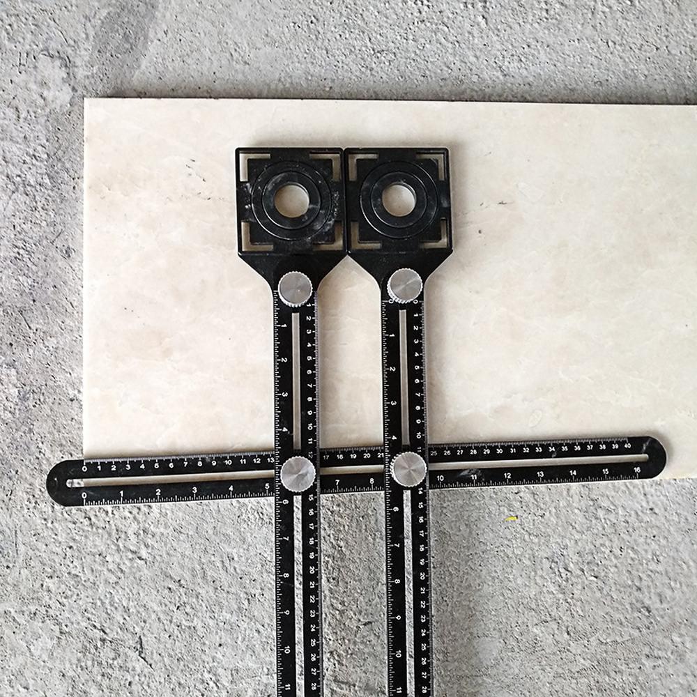 Nuevo Multi-funcional baldosas perforadora Universal ajustable herramienta de localizador fija un ángulo Regla de medición punzonadora 100 Uds. Herramientas de construcción de pared de piso de cerámica plana sistema de nivelación de azulejos reutilizable Kit de sistema de nivelación de azulejos
