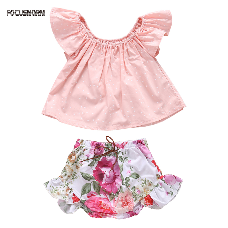 2pcs Newborn Infant Baby Girl Clothes Summer Sleeveless Outfits Clothes T-shirt Tops Floral Pants