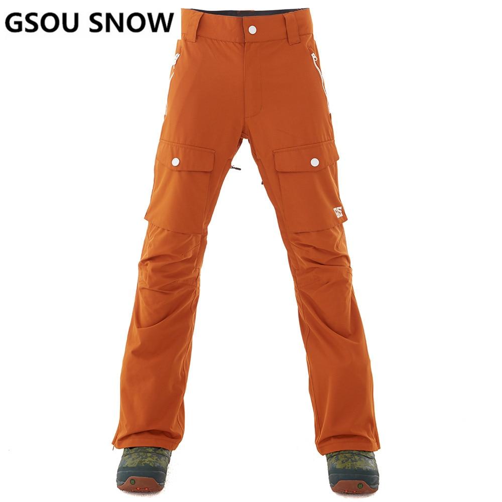 GSOU SNOW Brand Ski Pants Men Waterproof Snowboard Pants Plus Size Winter Skiing Snowboarding Snow Trousers Male Outdoor Sport