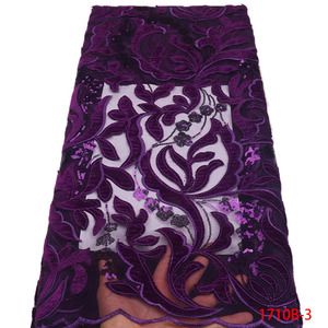 Image 4 - Gran oferta de vestido de fiesta de malla de encaje nigeriano de tela de encaje de alta calidad vestido de terciopelo africano de encaje de tela de lentejuelas GD1710B 3