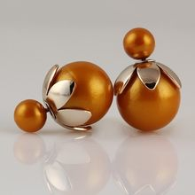 New Arrival Double Ball Earrings Romantic Gold Color Torus Double Side Pearl Earrings For Women Fancy Fine Jewelry KC008(China)