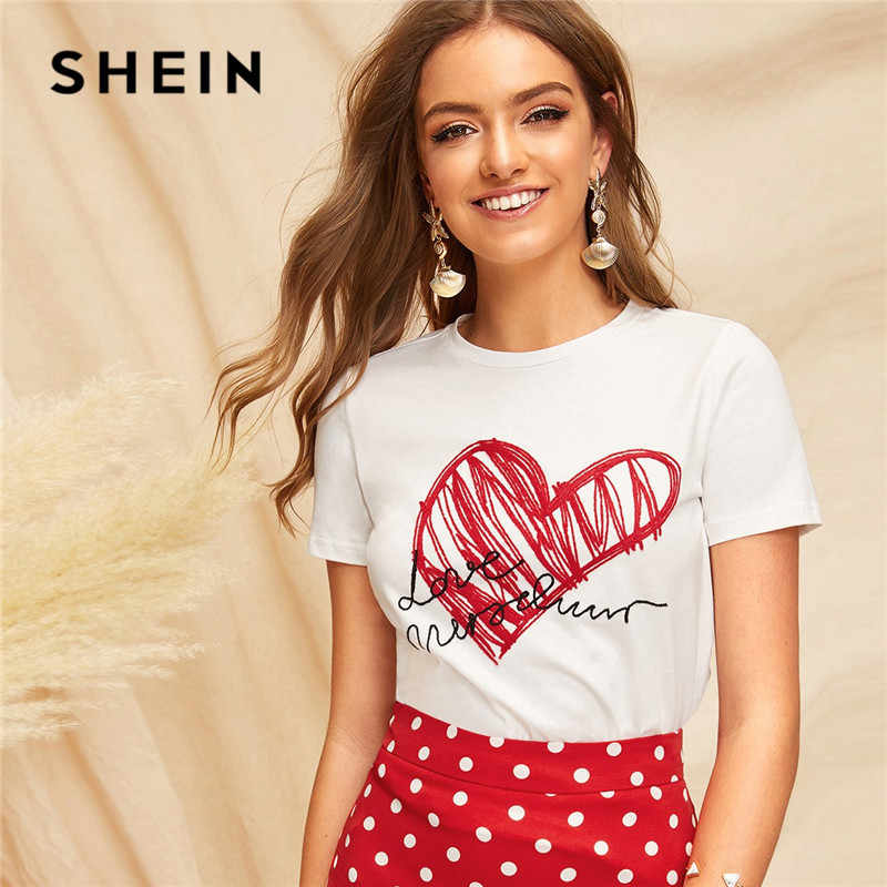 SHEIN Ladies Simple Round Neck Graphic Print T Shirt Summer Casual Minimalist Short Sleeve Letter Women Tshirt Tops