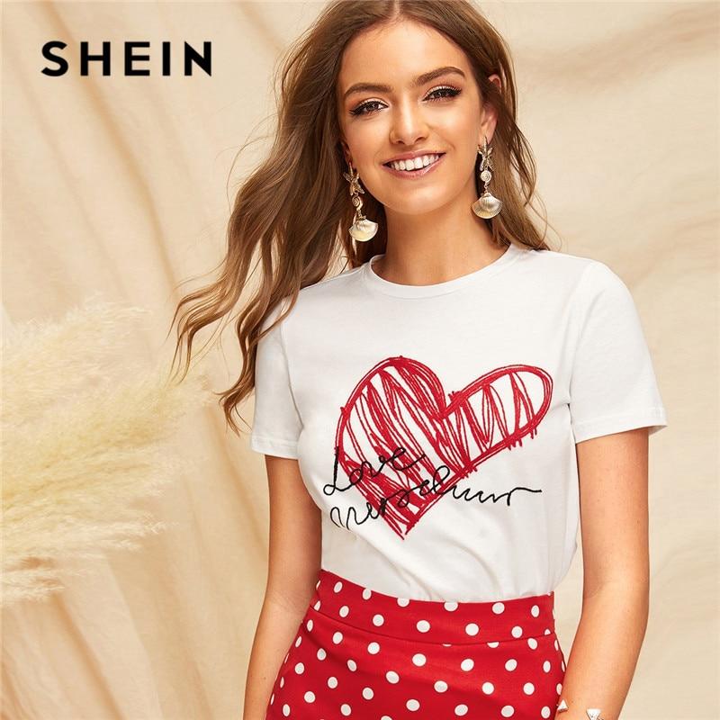 SHEIN señoras Simple cuello redondo estampado gráfico camiseta verano Casual minimalista de manga corta letra mujeres camiseta Tops